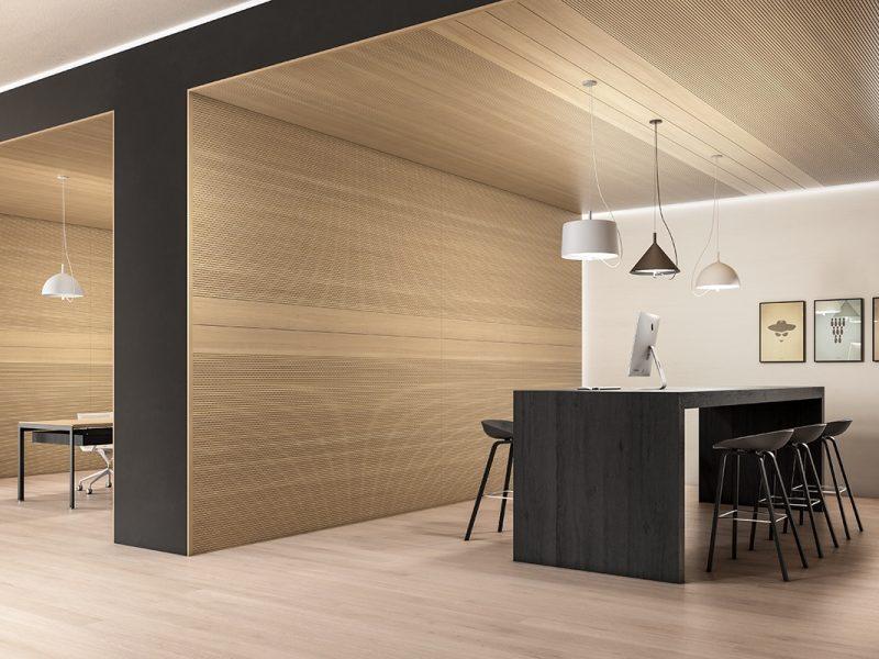 """Holzfaserboden """"Lindura Payprus"""" und Akustikwände von SKEMA in einem Büro"""