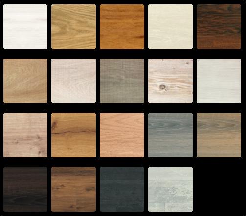 Beispiele für die vielen Oberflächen-Varianten von SKEMA-Laminat-Bodenbelägen